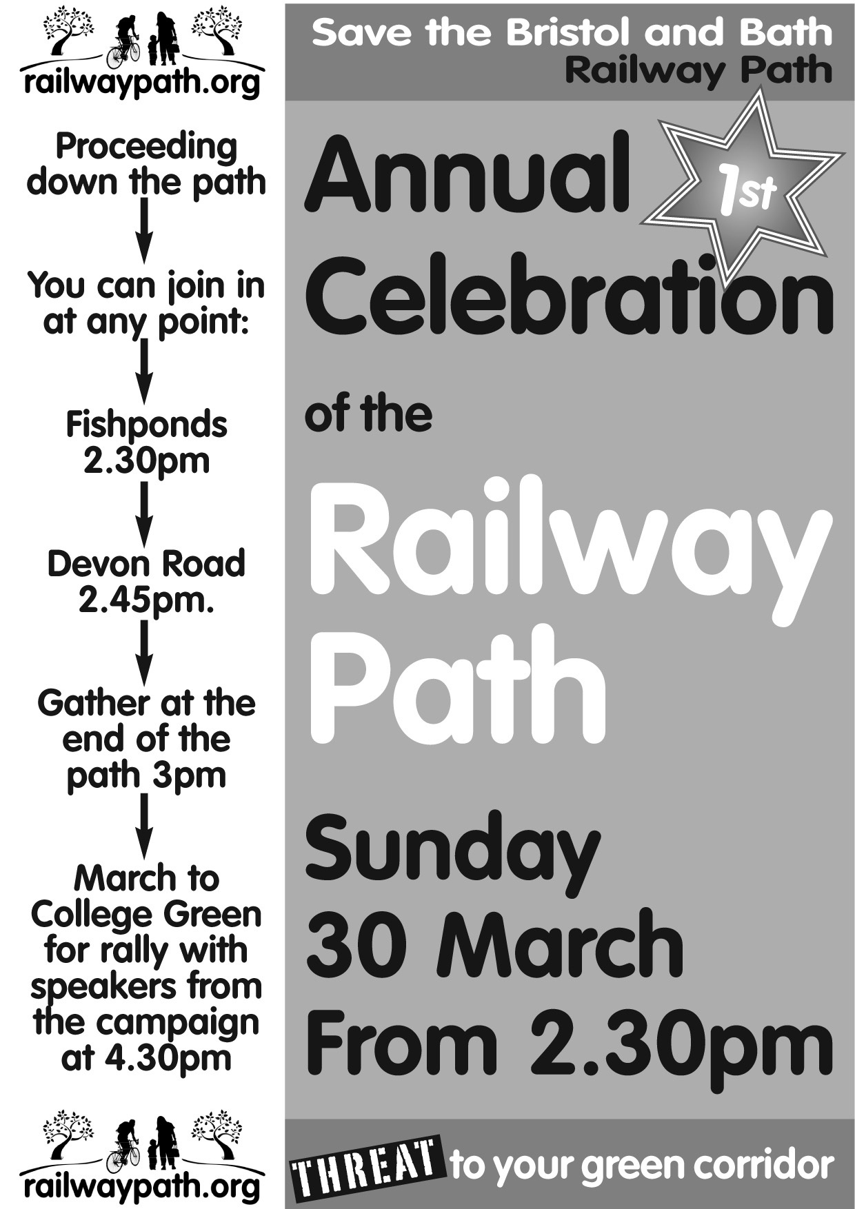 Railway Path protest leaflet